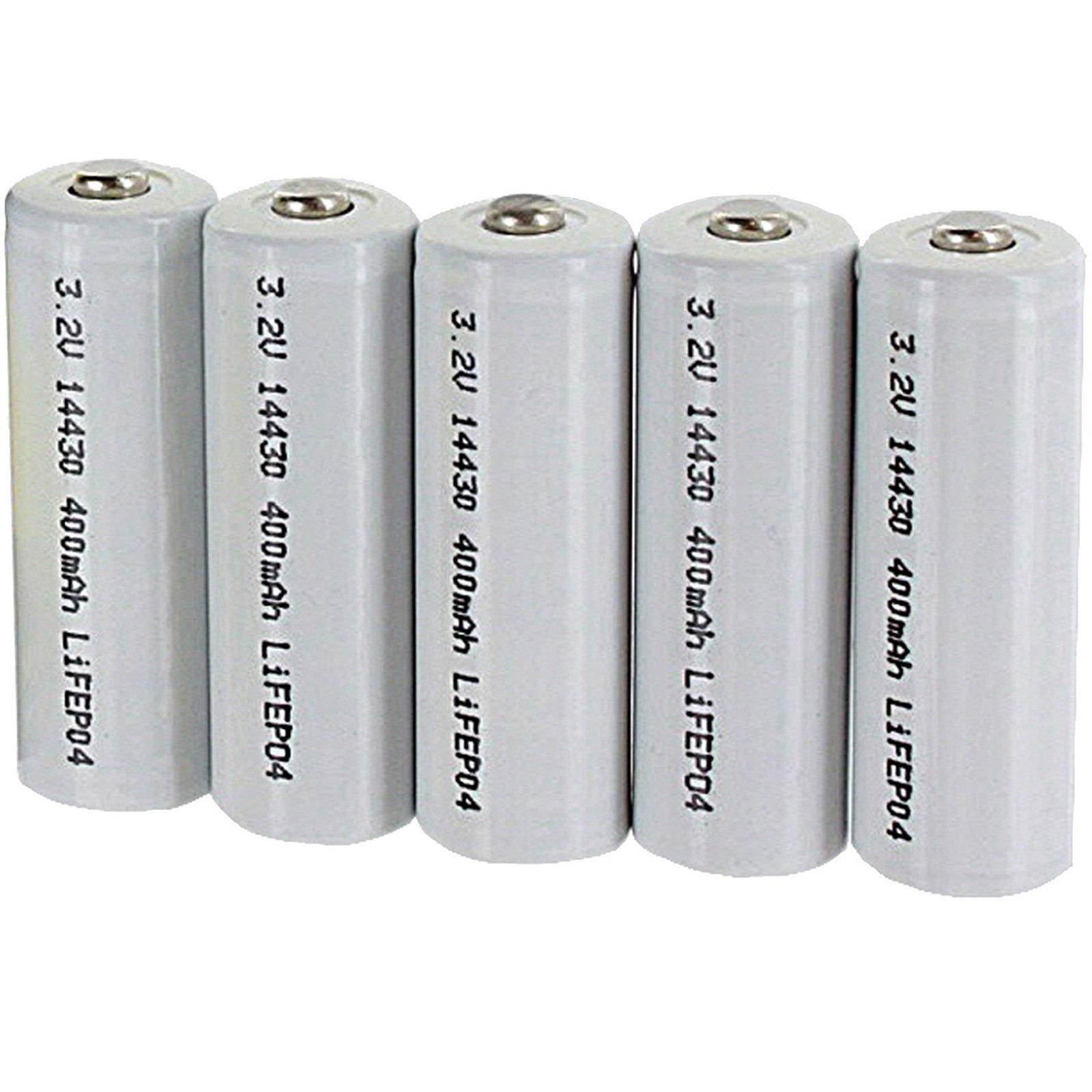 5pk Li-FePO4 Size 14430 Rechargeable 3.2V 400mAh Batteries For Solar Lights Garden Lights , Security System Panels, LED Flashlights FAST USA SHIPPING