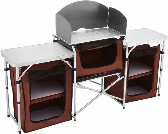 Popsport Mesa de Cocina aleación de Aluminio de Camping Plegable al Aire Libre Cocina Mesa Multifuncional Mesa de Cocina de Camping con Tablero DM y ...