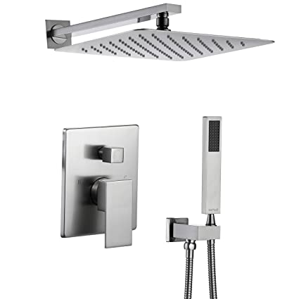 Esnbia Shower System, Brushed Nickel Shower Faucet Set with Valve and 12