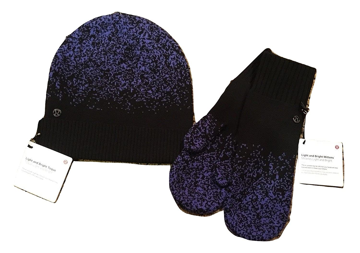 8498df0752b Lululemon light and bright mittens gloves toque set stardust blue merino  wool one size stay warm