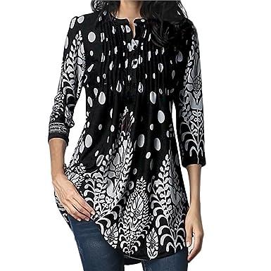 6e47f559f7d HGWXX7 Women Loose Print Three Quarter Sleeve O-Neck Long Tops T Shirt  Blouse (