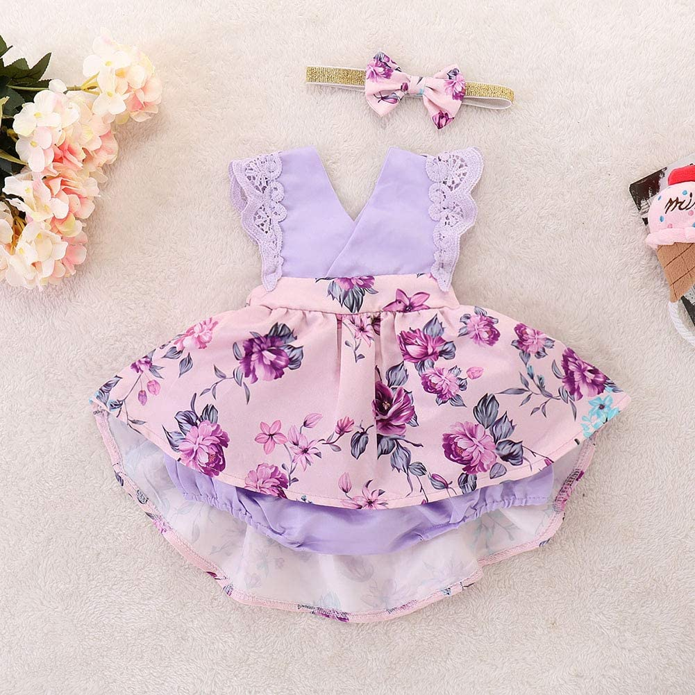 Baby Girl Dress Camping Baby Clothes Party Ruffle Floral Baby Girls Dress with Headband for Hiking 80CM