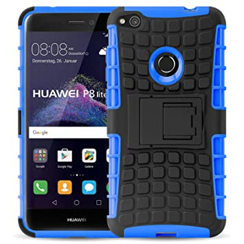 JAMMYLIZARD Funda Huawei P8 Lite, Carcasa Militar [ Alligator ] Alta Resistencia Heavy Duty Case Back Cover, Azul