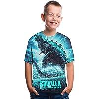 CHOICE99 3D Monsters Children t-Shirt Godzilla Boys Shirts Funny Kids 3D Print Ghidorah Short Sleeve t Shirt Blue