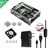 Smraza 5 in 1 Starter Kit for Raspberry Pi 3 2 B with 9 layers Case, 5V/2.5A Power Supply ,1 pcs Fan, 3 pcs Heatsinks and Micro USB with On/Off Switch SW13