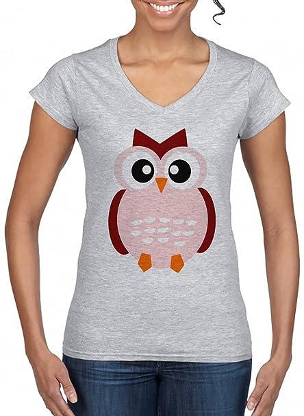 Civetta Donna V-Collo T-Shirt Grigio Manica Corta Tutti Dimensioni ... dedfd7ff581