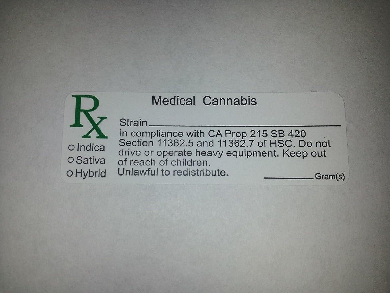 RX Medical Cannabis Strain 100 Labels California State Compliant CA PROP  Sticker Decal Identifer Marijuana, Pot, Ganja, 420, Sticky icky