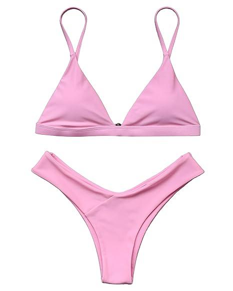 d95f1c2151 Amazon.com  MOSHENGQI Women 2 Piece Brazilian Top V Style Bottom Bikini Set  Spaghetti Strap Swimsuit  Clothing