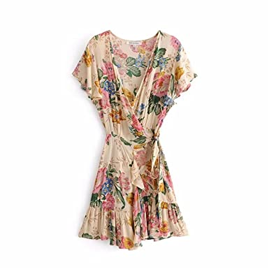 Robin Santiago Boho Vintage Floral Print Wrap Mini Dress Women 2018 New Fashion V Neck Short Sleeve Casual Vestidos Mujer at Amazon Womens Clothing store: