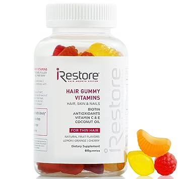Irestore Hair Vitamins Gummies Biotin Gummies Vegan Hair Gummies For Growth Hair Skin And Nails Gummies With Vitamin C E Coconut Oil Turmeric