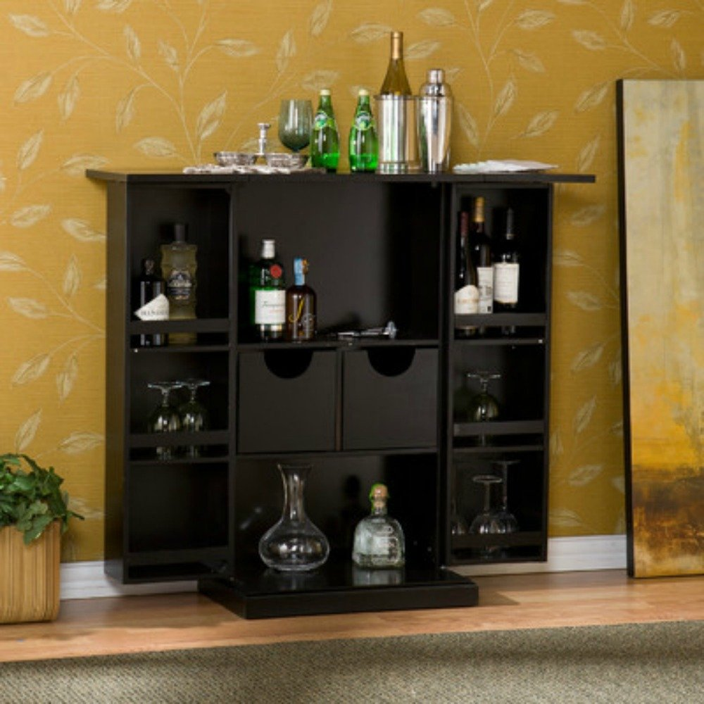 Stylish Bar Cabinet - Mini Home Liquor Wine Glass Storage Expandable Furniture by Wildon