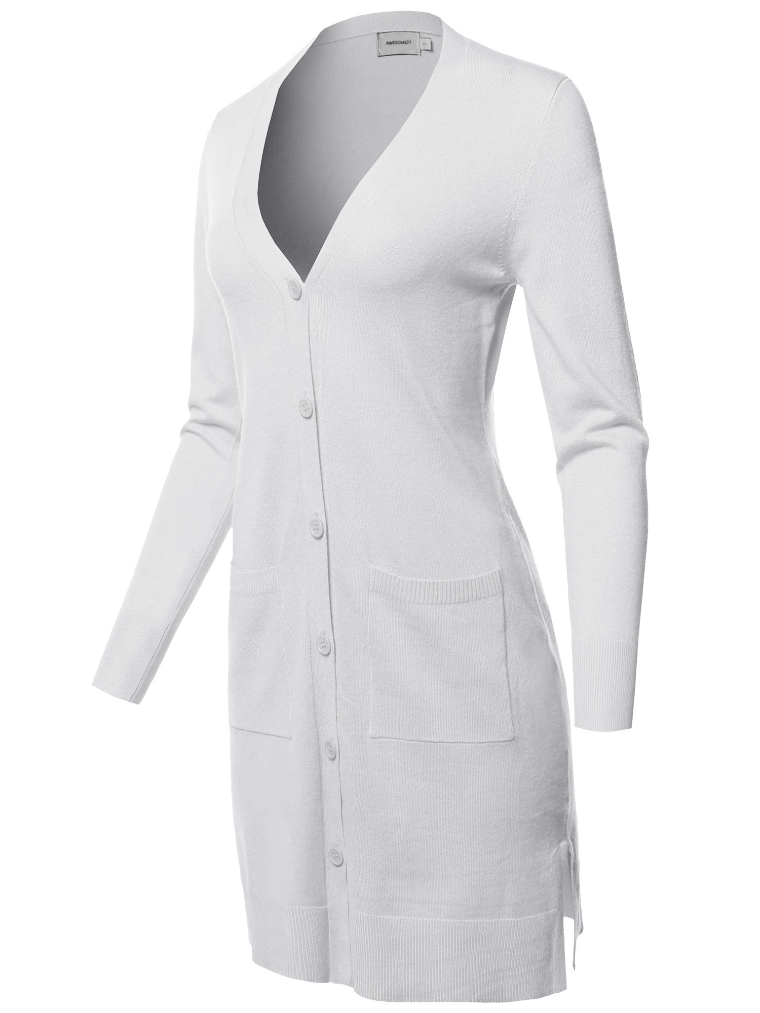 Awesome21 Casual Button Up Long-Line Sweater Viscose Knit Cardigan White Size M