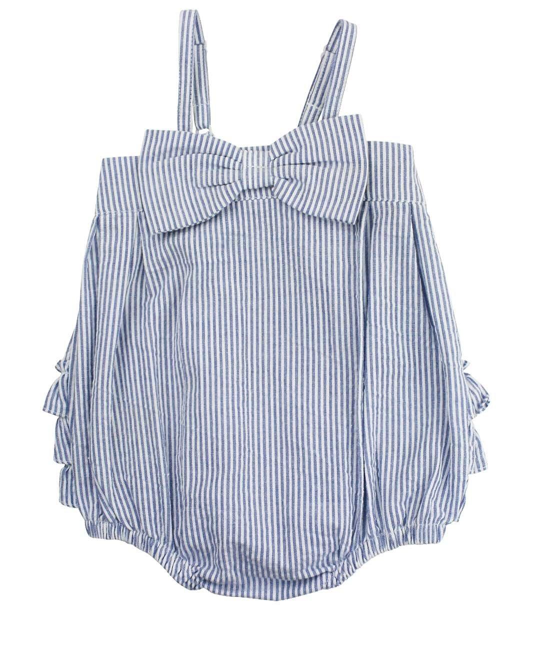 RuffleButts Little Girls Blue Striped Seersucker Bubble Romper w/Bow - 0-3m