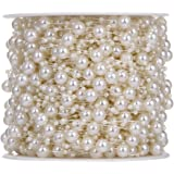 Rrimin Artificial Pearls Strings Ribbon Wrap for Decoration (10m, Beige)