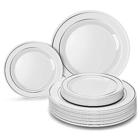 20 bandejas 20 platos para ensalada Para bodas y comidas de lujo 20 platos grandes Blanco//Oro Platos de pl/ástico resistente VAJILLA DESECHABLE DE 60 PIEZAS MODERNA Y ELEGANTE