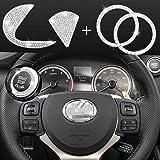 JINGSEN Bling Bling Bling Bling Adesivo de diamante decorativo para volante de carro, emblema de volante de carro brilhante p
