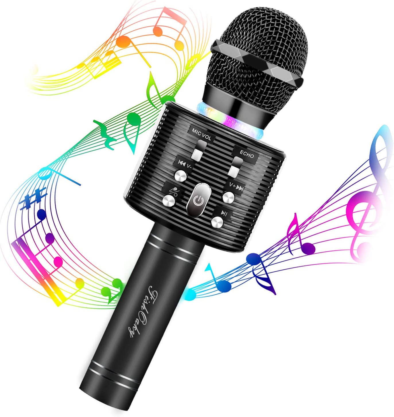 Karaoke Microphone for Kids, FISHOAKY 3 in 1 Portable Wireless Bluetooth Microphone Speaker Music Singing Voice Recording Karaoke Machine with Android/IOS for Home KTV Player Outdoor