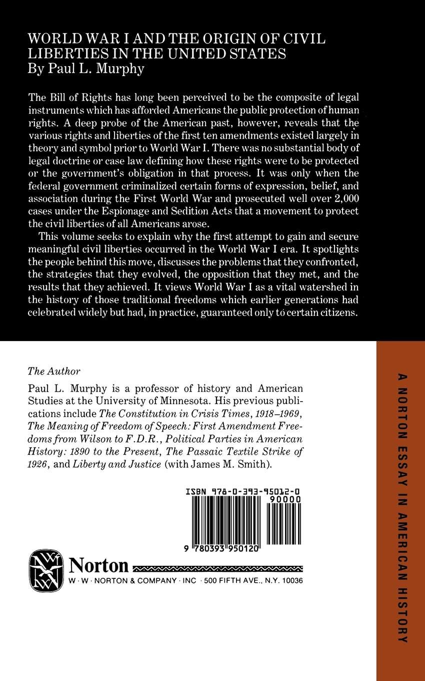 World War I And The Origin Of Civil Liberties In The United States  World War I And The Origin Of Civil Liberties In The United States Norton  Essays In American History Paul Murphy  Amazoncom Books Proposal Argument Essay Examples also Thesis Of A Compare And Contrast Essay  Online Book Report Service Online Book Report Service