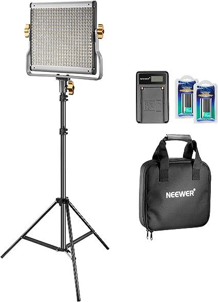 Todo para el streamer: Neewer Bi-color LED 480 Kit de Vídeo Luz y Soporte con Batería y Cargador para Estudio, Vídeo de YouTube, Marco de Metal Durable, Regulable con Soporte-U, 3200-5600K, CRI 96+