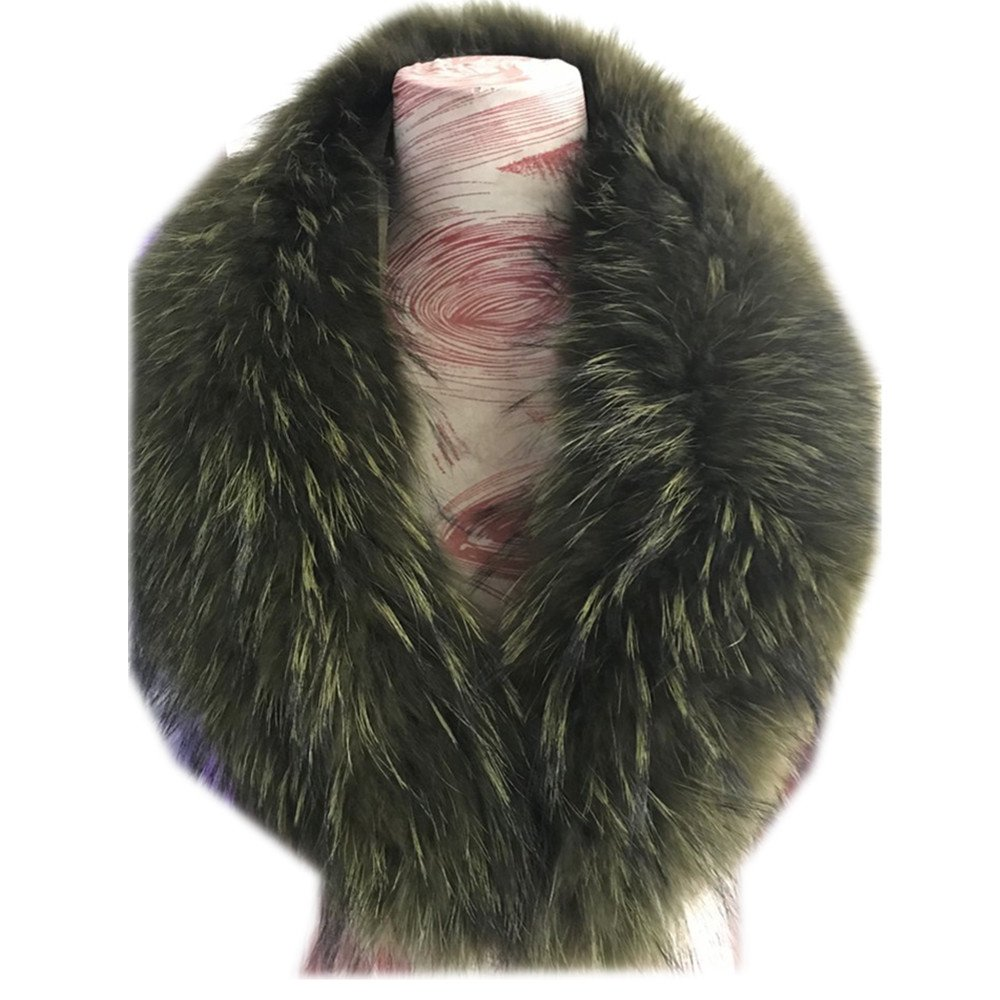 Gegefur Real Raccoon Fur Scarves Woman 100% Pure Natural Raccoon Fur Collar Warm Winter Scarves Red Fox Fur Colla (110cm, Army green)