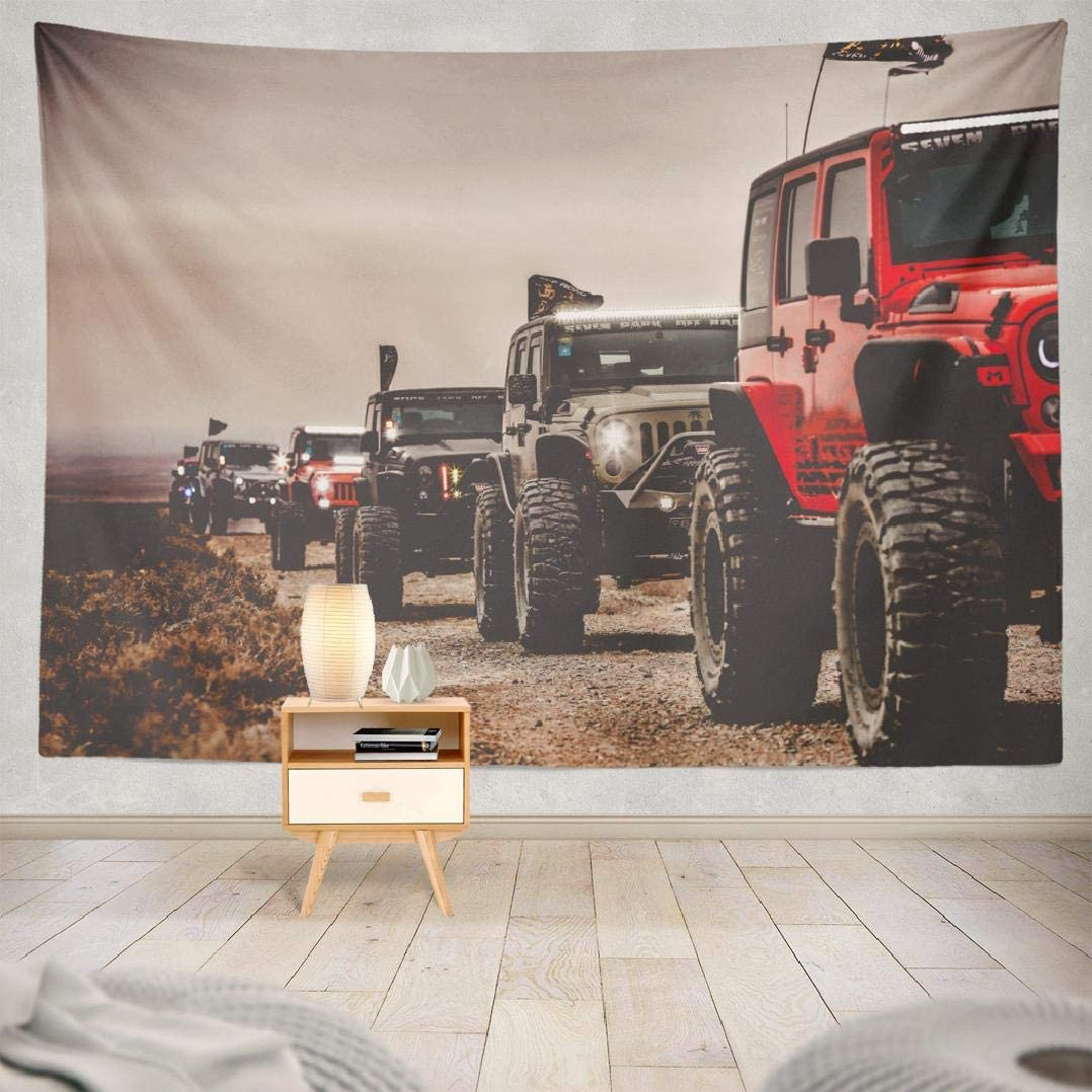 threetothree 80 X 60 Inches Tapestry Wall Hanging Interior Decorative Colorful Hot Air Balloon Road Jeep Adventure Truck Car Forest Trail for Bedroom Living Room Tablecloth Dorm