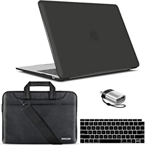 IBENZER New 2020 MacBook Air 13 inch Case M1 A2337 A2179 A1932, Hard Shell Case & Sleeve Bag & Keyboard Cover & Type C for Apple Mac Air 13 with Touch ID (2018-2020), Black, MAT13-BK+3