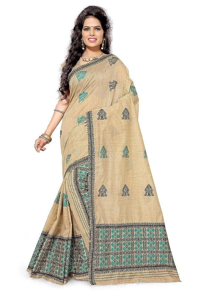 S Kiran's Women's Cotton Assamese Chanderi Mekhela Chador (Beige, Free Size)