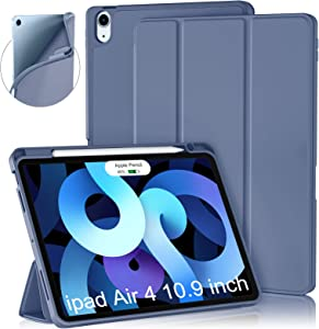Cousper Case for iPad Air 4th Generation Case 10.9 Inch 2020, Slim Stand Case for iPad Air 4th Case Cover with Pencil Holder [Support 2nd Apple Pencil Wireless Charging] [Auto Sleep/Wake], Blue Gray