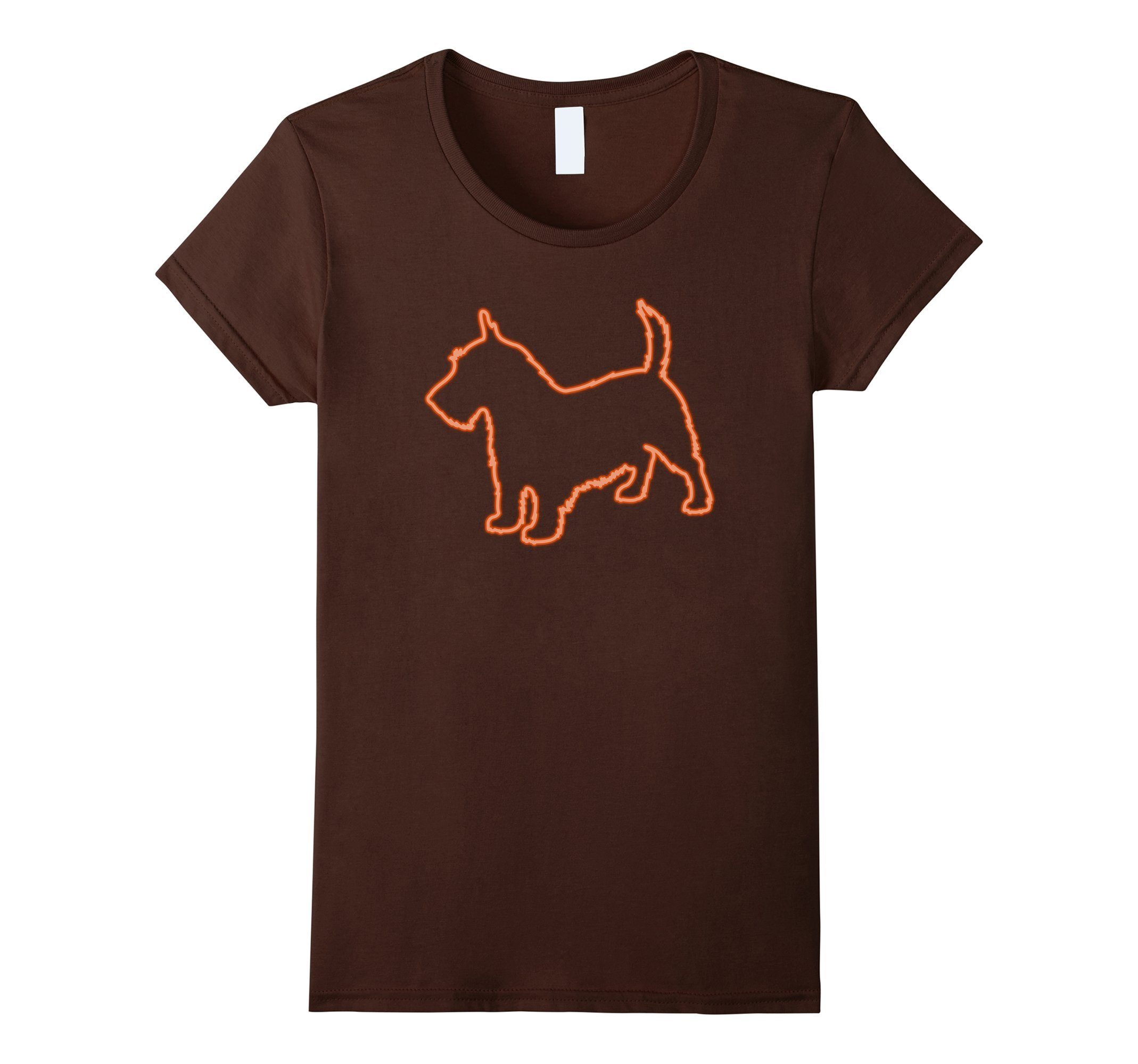 Womens 80s Retro Neon Sign Scottish Terrier T-Shirt. 80's Gift Large Brown