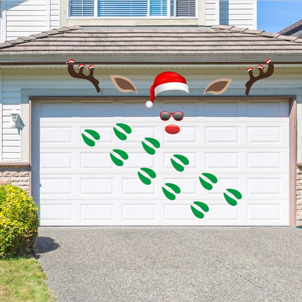 Christmas Garage Decoration Stickers Reindeer Outdoor Decoration with Footprint Garage Door Decals Reusable PVC Stickers with Foam Tape for Fridge Window Wall Xmas Holiday Party Decor Supplies