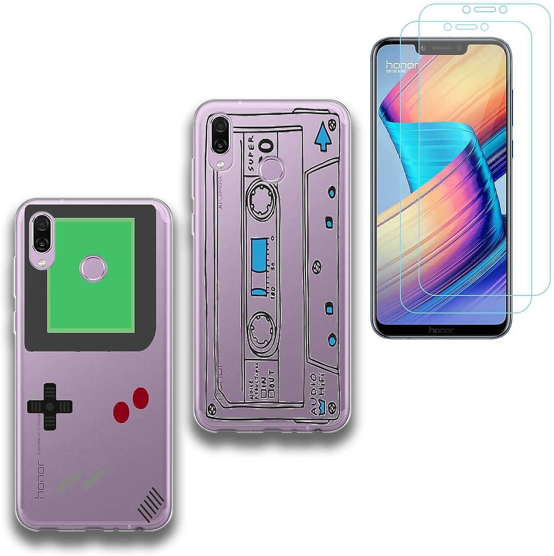 jrester 2 X Funda Huawei Honor Play,Videoconsola + Cinta de Cassette Suavee Silicona Smartphone Cascara Protectora para Huawei Honor Play (6,3