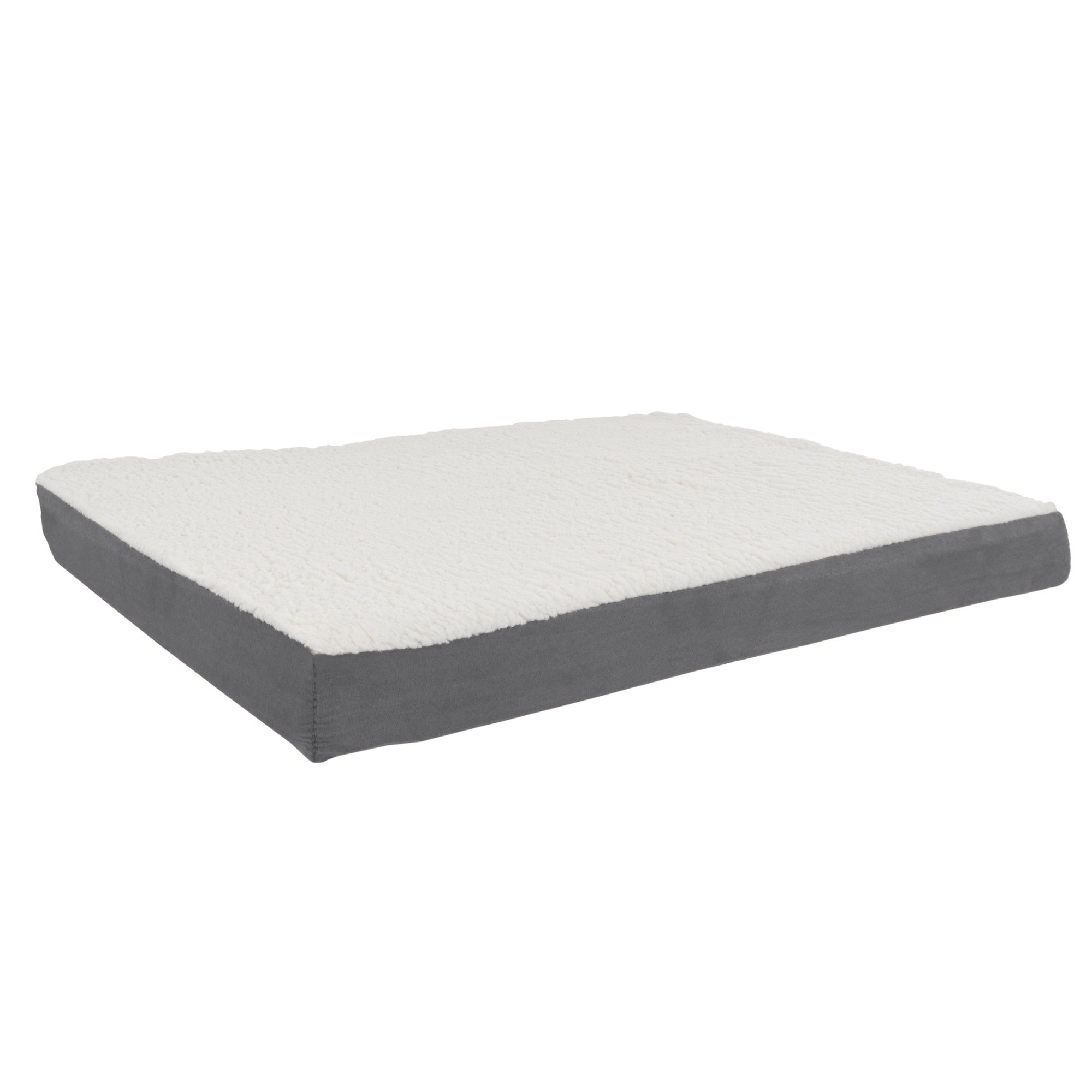 PETMAKER Orthopedic Sherpa Top Pet Bed with Memory Foam and Removable Cover 36x27x4 Gray by PETMAKER