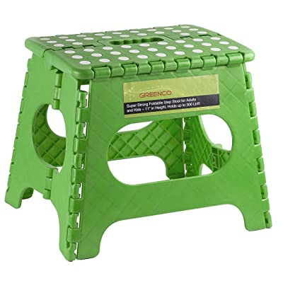 Greenco Super Strong Foldable Step Stool for Adults and Kids - 11 inches in Height, Holds up to 300 Lb: Home & Kitchen