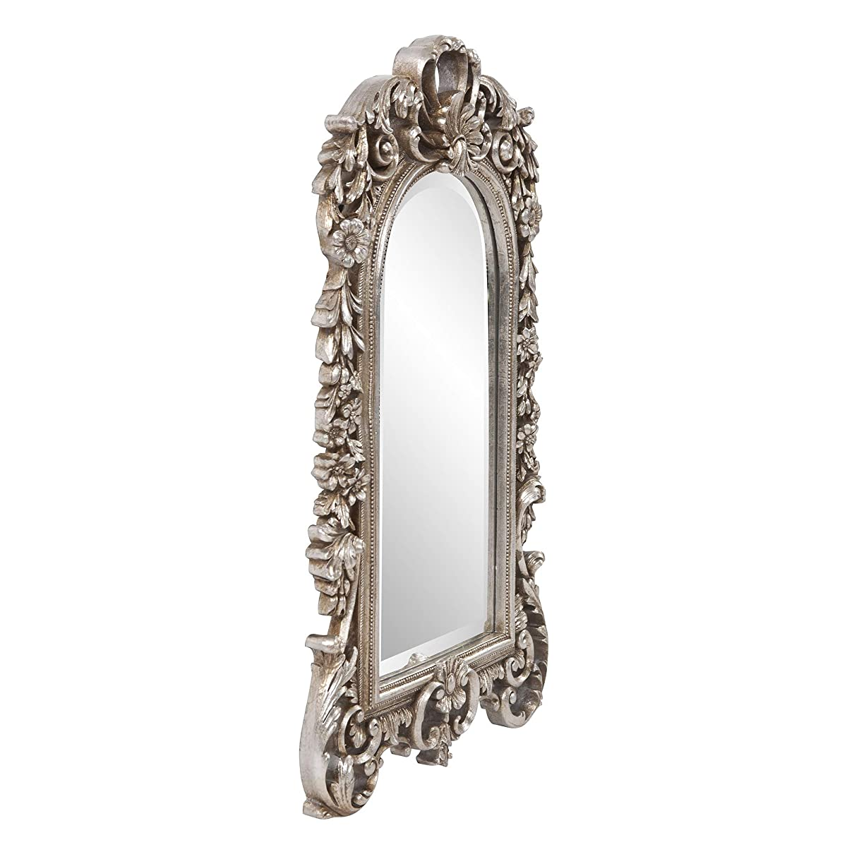 Howard Elliott Sherwood Mirror, Arched Antique Silver Resin Frame, Accent Wall Hanging Mirror
