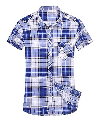 b2a43085732 XiaoTianXin-men clothes XTX Mens Summer Plaid Print Slim Fit Short Sleeve  Button Down Dress