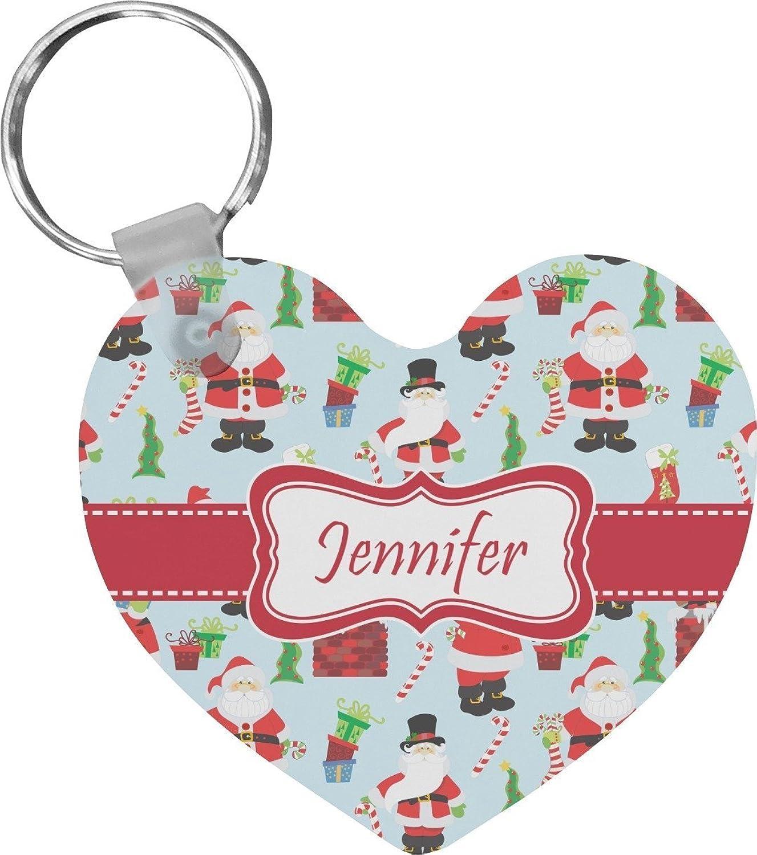 Santas w/ Presents Heart Keychain (Personalized)