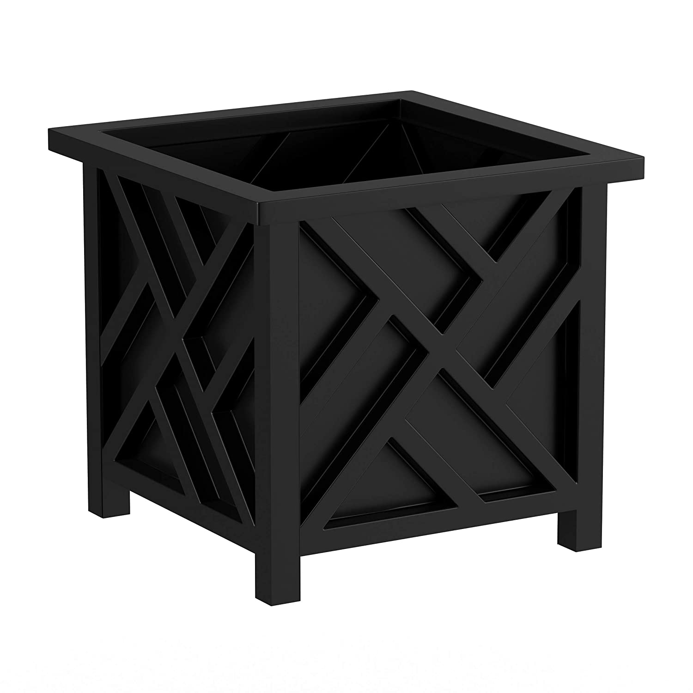 Pure Garden 50-LG5010 Black Square Planter Box Lattice Container for Flowers /& Plants