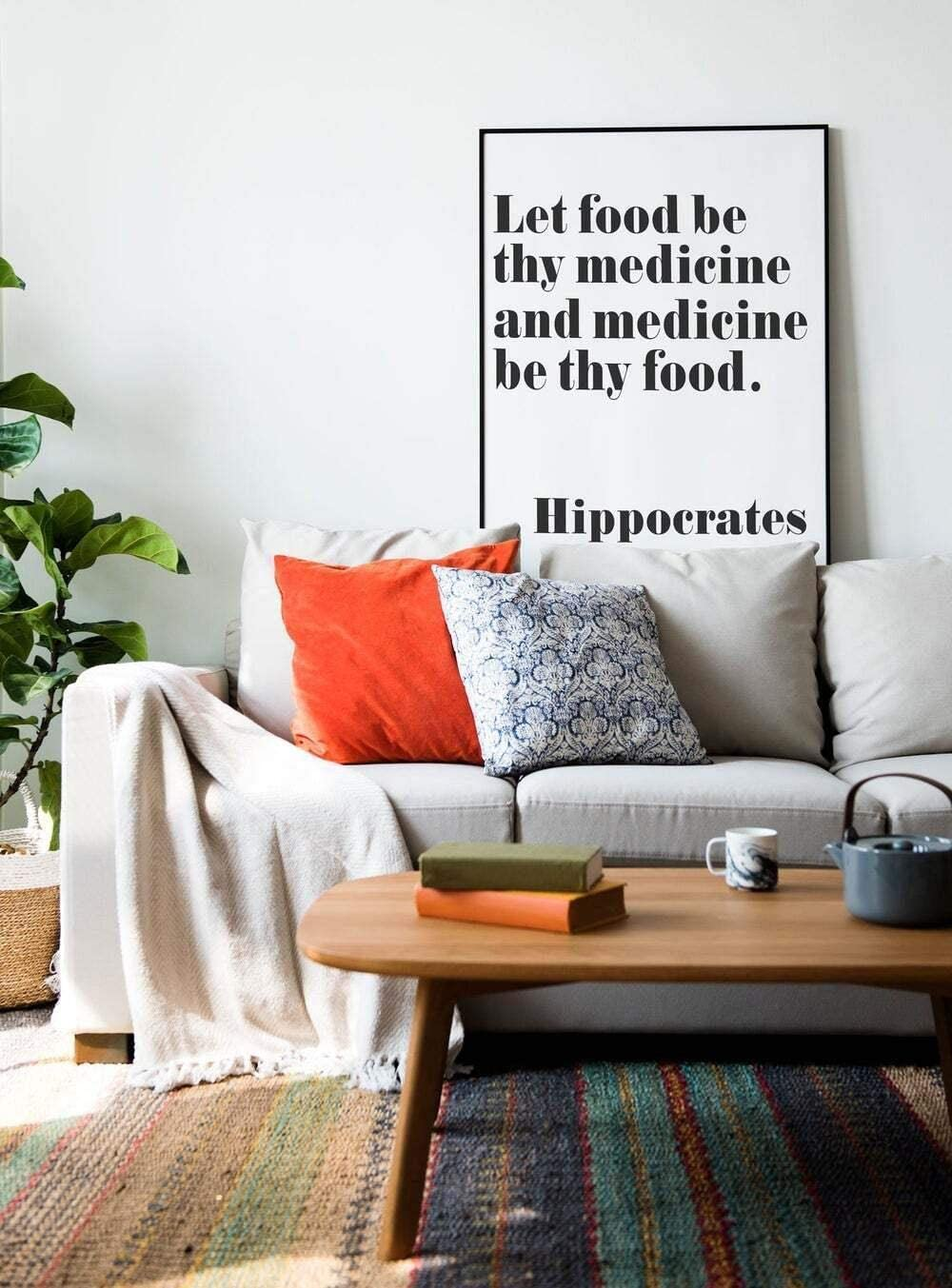 Hippocrates Quote Health Quote Let Food Be Thy Medicine Wall Art Print Poster, Canvas Gallery Wraps Wall Decoration