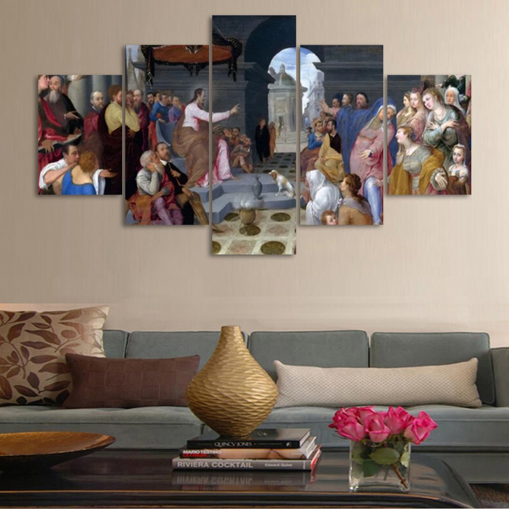 Yatsen Bridge Saint Jesus Classicism Religious Christian Oil Painting on Canvas 5 Pieces Posters Prints Pictures Wall Art Modern Home Decor Gallery-wrapped Home Office Decor(70''W x 40''H)
