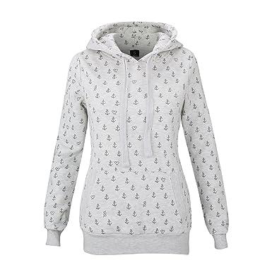 SUBLEVEL Damen Sweatshirt mit Kapuze Freizeit Hoodie mit Anker Print 500C  (M, Grau) a0b84b947c