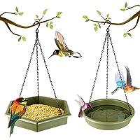 Hanging Bird Feeder - DOPGL Bird Feeders for Outside, 2 in 1 Platform Bird Bath & Feeder Tray, Outdoor Yard Garden…