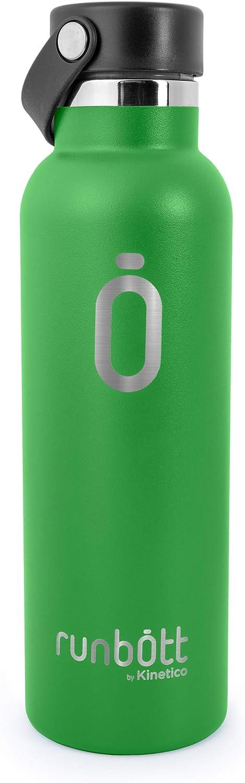 PracticDomus Runbott Sport Botella Térmica 600 ml de Acero Inoxidable 304 con Doble Capa de Vacío e Interior Cerámico. Sin Sabor Metálico. Base de Silicona. Color Verde
