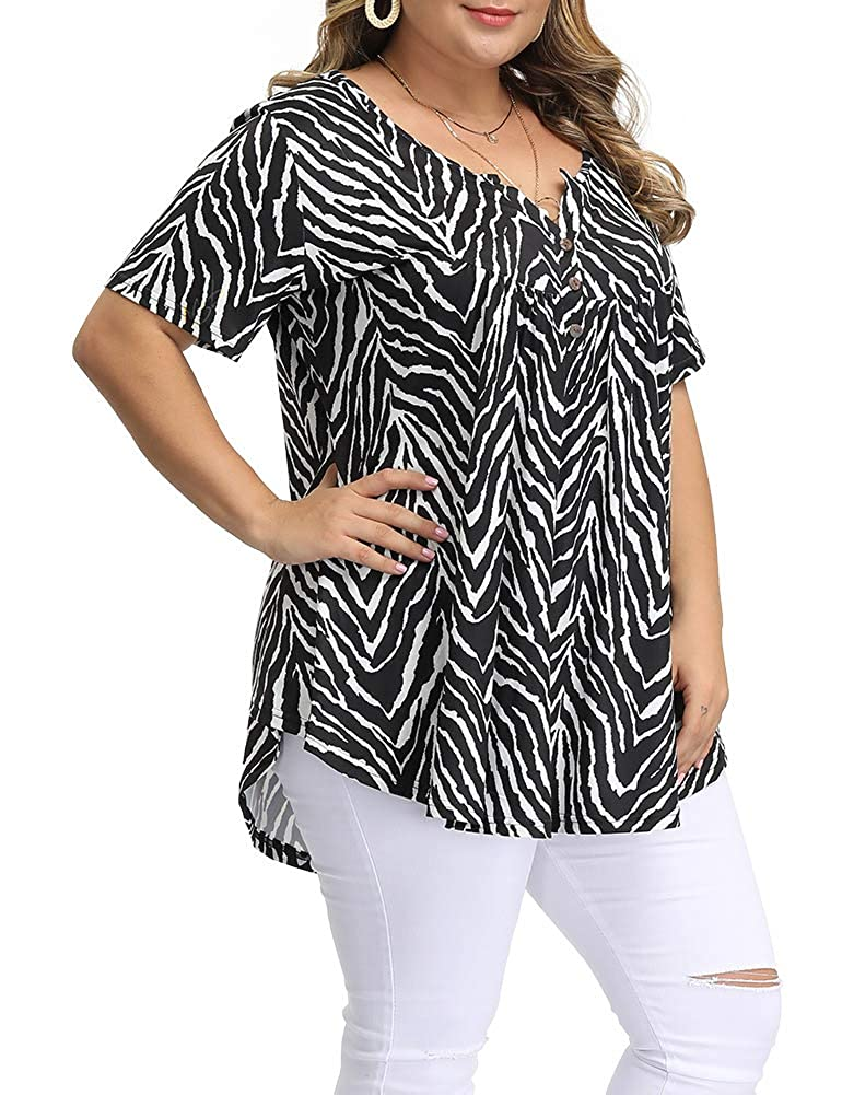Allegrace Womens Plus Size Floral Blouses Henley V Neck Button Up Tunic Tops Ruffle Flowy Short Sleeve T Shirts