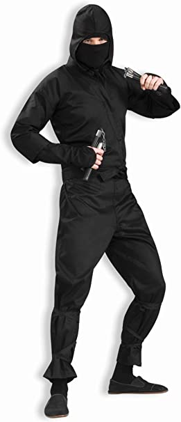 Amazon.com: Mens Deluxe Ninja Costume, Black, One Size ...