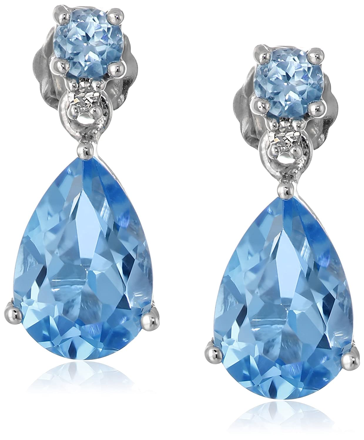 10k White Gold Blue Topaz Pear-Shaped Drop Earrings with Diamond Accent
