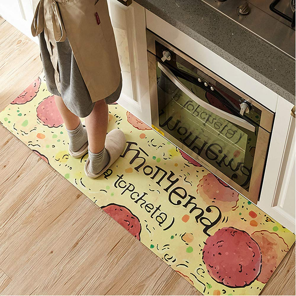 """Ustide Classic Anti-Fatigue Kitchen Comfort Chef Floor Mat, 17.7x70.9"""", Linen Cardinal Stain Resistant Surface with 1.4cm Thickness Gel Core for Health and Wellness"""
