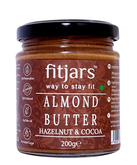 FITJARS Almond Butter with Hazelnut & Cocoa, All Natural Stone Ground Keto Diet Vegan Butters-200gm
