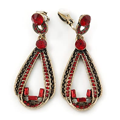 Vintage Inspired Ruby Red Crystal Teardrop Clip On Earrings In Antique Gold Tone - 40mm L 58AlpGys