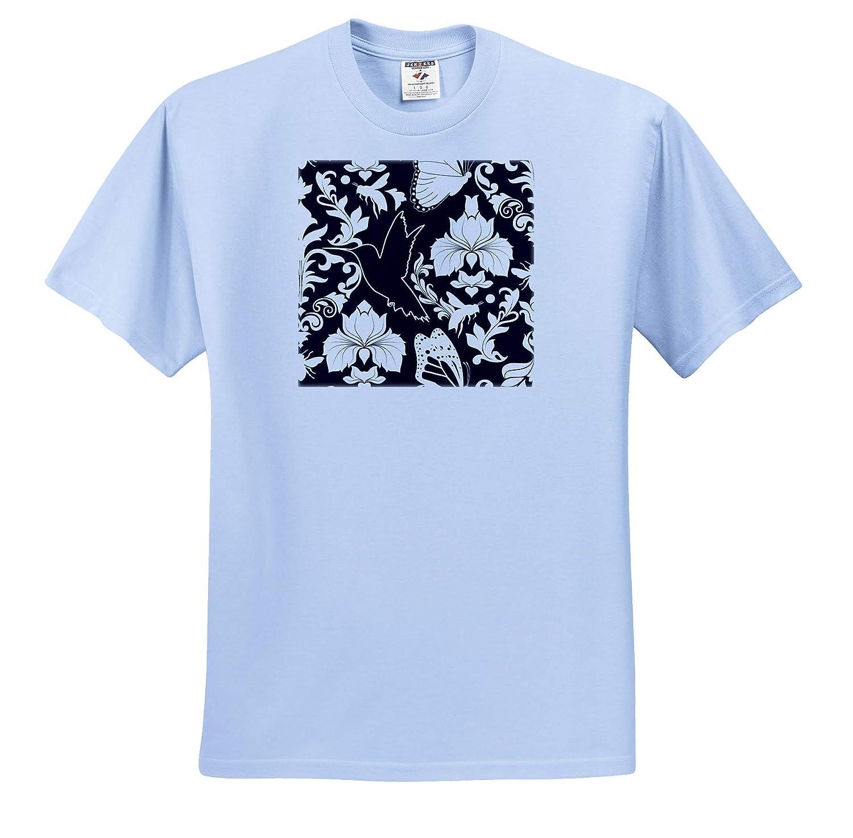 ts/_310733 Garden Damask Black and White 3dRose Janna Salak Designs Prints and Patterns Adult T-Shirt XL