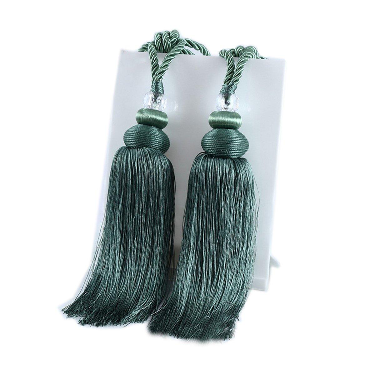 YYC 1Pair Rayon Crystal Ball Tassel Curtain Rope Tie Backs Cord Drapery Holdbacks (Green)